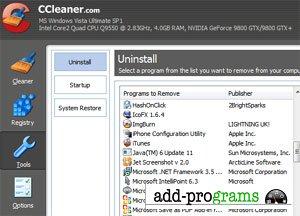 CCleaner  [ cleaner - утилита для очистки реестра ]